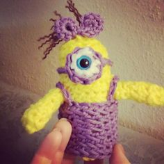 Crochet tiny minion .