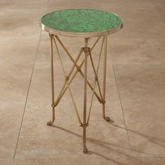 Directoire Table, Antique Brass With Faux Malachite Top - Thinking of getting a small table and wanting a touch of malachite in your house? This would be just what the doctor ordered. It's the right touch next to a big comfortable wing chair or a chaise in your living room or bedroom.