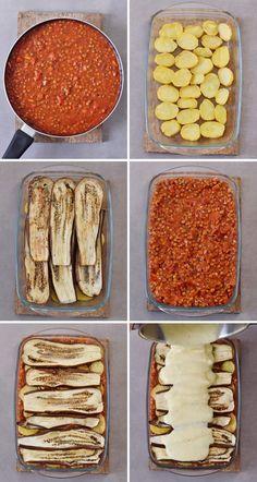 Vegan moussaka with lentils and eggplant! This popular Greek dish can be easily … Vegan moussaka with lentils and eggplant! Easy Healthy Recipes, Gourmet Recipes, Easy Meals, Cooking Recipes, Healthy Desserts, Meat Recipes, Vegan Vegetarian, Vegetarian Recipes, Vegan Eggplant Recipes