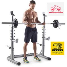 GOLDS GYM OLYMPIC WORKOUT RACK Home Equipment Adjustable Uprights Squat Lifting…