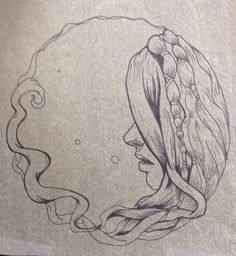 Stylized drawing of a girl with dreadlocks, sharpie on tracing paper on Etsy, $49.99