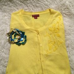 Sunny Yellow Cardigan with Embroidered Flower Perfect cardigan spring! Bright yellow with embroidered and beaded flower. Blue dress (size large) is also available in my shop. Merona Sweaters Cardigans