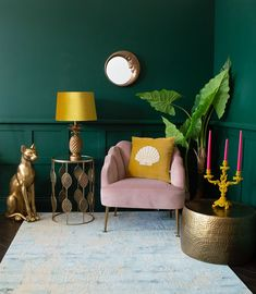 Quirky homewares - mustard velvet pineapple lamp styled with a quirky golden sphinx cat and blush pink velvet armchair Dark Green Living Room, Dark Green Rooms, Green Living Room Ideas, Yellow Walls Living Room, Colorful Living Rooms, Green Room Colors, Blush Pink Living Room, Blush Pink Bedroom, Green Wall Color