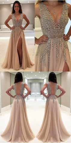Charming A-Line Floor-Length V-Neck Backless Sexy unique beading Long prom dresses, PD0505 #PromDresses