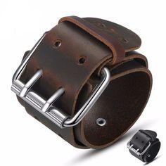 Men/'s Punk large Cuir Boucle Rivet Cuff Bracelet Bracelet Bangle FASHION QK
