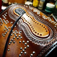 """Been working on this big bad cuff! Love it when a client says """"do your thing"""" #customleather #leatherwork #leathercuff #cowboycuff #biker #matara #madeinbrooklyn #williamsburg #liveloveleather"""