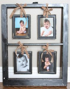 30 Creative Ways To Reuse Old Windows - I like this idea of hanging small picture frames inside the window frames Old Window Frames, Window Art, Window Panes, Old Window Ideas, Diy Projects To Try, Craft Projects, Craft Ideas, Old Window Projects, Deco Originale