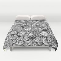 Duvet Cover featuring Black and white zentangle inspired art, Detailed rectangle, b&w doodle by /CAM