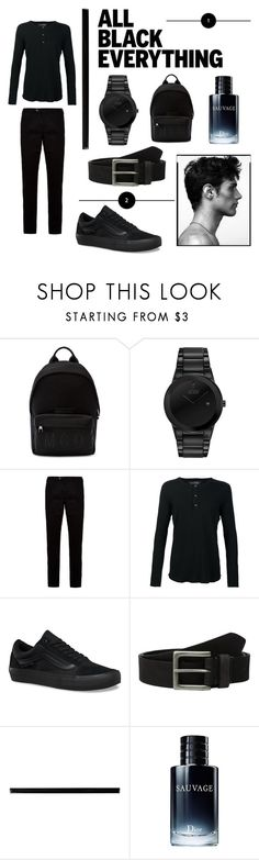 """""""All black !"""" by kerdouz ❤ liked on Polyvore featuring McQ by Alexander McQueen, Citizen, Ted Baker, Wings + Horns, Vans, Timberland, Merola, Christian Dior, men's fashion and menswear"""