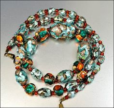 Venetian Foil Glass Bead Art Deco Necklace Graduated Vintage 1920s Art Deco Jewelry