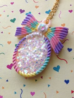 Cameo pendant necklace jewelry bow Lolita pastel by KagomeCharm, $6.99