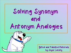 Use this gradual release lesson to guide students through the procedure of solving synonym and antonym analogies. This power point contains multiple examples of analogies and problems to solve in a good looking font with cute clipart.