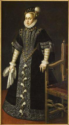 Portrait of Anne of Austria fourth wife of Philip II of Spain by Alonso Sanchez Coello (circa Elizabethan Costume, Elizabethan Era, Mode Renaissance, Renaissance Fashion, Elizabeth Bathory, Historical Costume, Historical Clothing, Tudor Costumes, Spanish Fashion