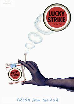Vintage Retro Lucky Strike Cigarettes Advertising Poster Print