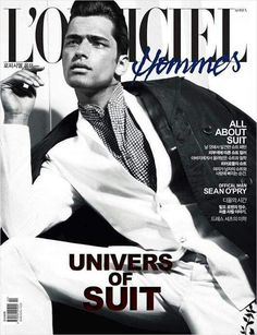 Male supermodel Sean O'Pry on the double cover of L'Officiel Hommes Korea's February issue by Renie Saliba, styled by Katie Burnett. Magazine Man, Vogue Magazine, Magazine Covers, Boy Poses, Male Poses, Sean O'pry, Cover Boy, Fashion Cover, Fashion Tape