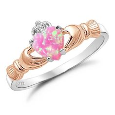 Sterling Silver Rose Gold Plated with Pink Lab Opal Claddagh Ring Size 6 Kriskate & Co. http://www.amazon.com/dp/B00DTXCO3G/ref=cm_sw_r_pi_dp_57Advb1PH51B5