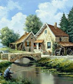 Our daily life - Reint Withaar Watercolor Landscape, Landscape Art, Landscape Paintings, Watercolor Paintings, Beautiful Places, Beautiful Pictures, Thomas Kinkade, Beautiful Paintings, Home Art