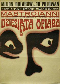 Polish movie poster by  Wiktor Gorka, Wiktor, The 10th Victim, 1 9 6 7, Dir.: Carlo Ponti.