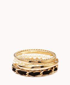 Chain-Link Pearlescent Bracelet Set | FOREVER21 - 1027705382