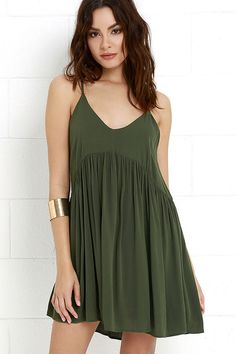 Dream State Olive Green Babydoll Dress at Lulus.com!