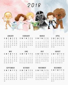 """Free Printable One Page Star Wars 2018 Calendar. Free JPG download. Two sizes available, 5x7"""" and 8x10"""""""