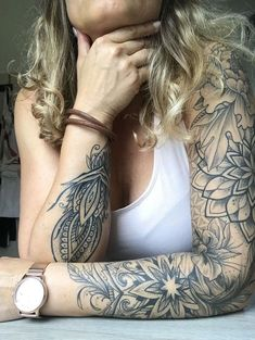 Not in the larger parts, but in the leaf design that comes out on her wrist and on her … – DIY tattoo pictures diy tattoo images – diy best tattoo ideas diy best tattoos - flower tattoos designs Forearm Sleeve Tattoos, Body Art Tattoos, Girl Tattoos, Small Tattoos, Tattoo Sleeves, Shoulder Tattoos, Female Tattoo Sleeve, Tatoos, Diy Tattoo