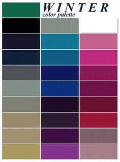 color pallet for winter photos | Above are the general color characteristics of…