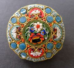 Victorian Micromosaic Floral Brooch c1850s