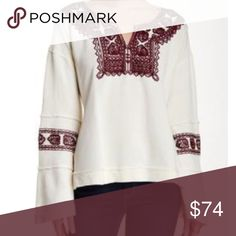 Free People Pullover Knit Top Santa Maria Pullover knit top cream with contrast burgundy embroidered detail embellishes the neckline and bell sleeves. Split neck, banded trim and side slits. 100% cotton 27-16-05-09-69-62-55-45 Free People Tops
