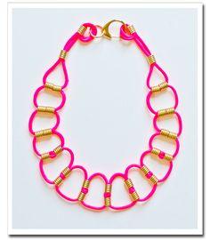 neon pink cord necklace - DIY Necklace #DIY #Necklace