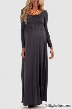 Nice maternity maxi dress with sleeves 2017-2018