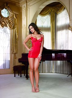 Sexy Red Chemise w/Crystal Rhinestone Trim Underwire & Strap Detail. Lingerie! in Sleepwear & Robes | eBay