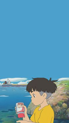 Studio Ghibli - Ponyo on the Cliff - Sosuke meets Ponyo Wallpaper Animes, Anime Scenery Wallpaper, Kawaii Wallpaper, Animes Wallpapers, Iphone Wallpaper, Art Studio Ghibli, Studio Ghibli Movies, Anime Kunst, Anime Art