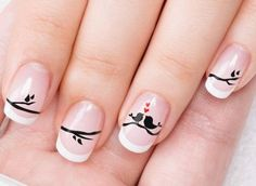 It may look simple but it can take great skill in drawing and nail art to perfect such a design. Getting the right pressure for the thickness of the lines would have to be practiced well. But if you have a good nail artist, this is a great and simple desi Bird Nail Art, Cool Nail Art, Valentine's Day Nail Designs, Simple Nail Designs, Nails Design, Stylish Nails, Trendy Nails, Valentine Nail Art, Super Nails
