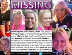 Help find missing Krista Marie Sypher! is a short post about a fairly new case of a missing mom. Help bring her home to her children!