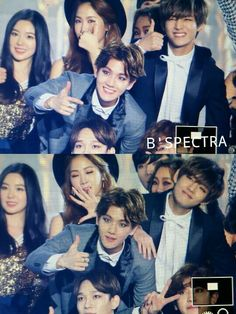 150122 EXO at Seoul Music Awards ♡ This picture is soooo cuuuute. Mom Baekhyun and his Baby Taehyung ♡ Taehyung And Baekhyun, V Taehyung, Chanyeol, Bts Boys, Bts Bangtan Boy, Jimin, Laura Lee, K Pop, Kpop Memes