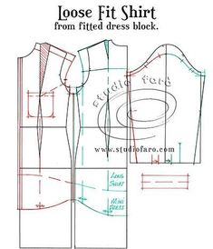 Pattern Insights - Loose Fit Shirt from Fitted Dress Block Sewing Stitches, Pdf Sewing Patterns, Clothing Patterns, Bodice Pattern, Top Pattern, Make Your Own Clothes, Loose Shirts, Pattern Drafting, Sewing Techniques