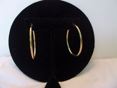 Monet Vintage Gold plate Pierced Hoop Earrings #Monet #Hoop 0.99 cent auctions!  Nice items!  Designer Signed Jewelry