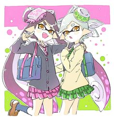 Squid Sisters in Japanese school uniform