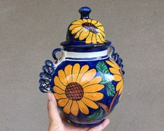 Talavera Lidded Jar Urn Majolica Pottery Sunflower Design Blue and Yellow, Ceramic Ginger Jar Tibor Sunflower Design, Yellow Sunflower, 90 Day Plan, Hacienda Style, Ginger Jars, Jar Lids, Spanish Style, Urn, How To Find Out