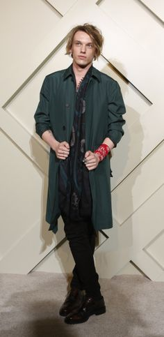 British actor Jamie Campbell Bower wearing Burberry on the red carpet at the Burberry London in Shanghai event
