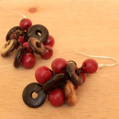 Crocheted Beaded Earrings with Pink Seeds and Coconut | handmade organic