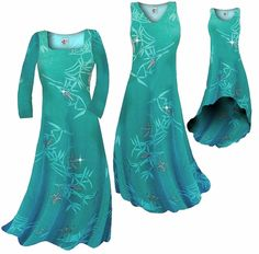 Customize! New! Pretty Teal & Silver Sparkly Bamboo Print Slinky Plus Size & Supersize Standard or Cascading A-Line or Princess Cut Dresses & Shirts, Jackets, Pants, Palazzo's or Skirts Lg to 9x. Please visit store for more info.