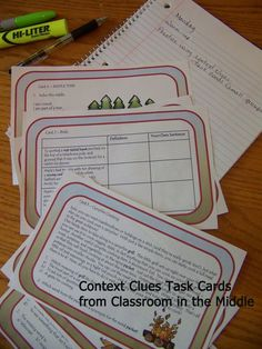 Context Clues  - Large task cards with plenty of content  for middle graders to practice using context clues to: Choose the best definition Choose among multiple meanings of words Choose and write synonyms Define words Make good word choices Write sentences Solve riddles Draw detailed illustrations