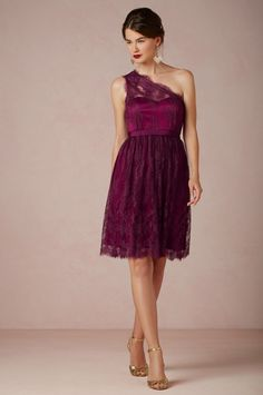 This warm wine hue and lace detailing will pair perfectly with your fall wedding. Buy it now at BHLDN.