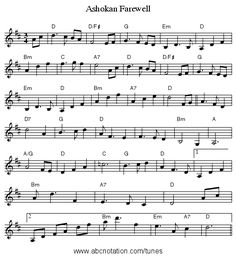 ashokan farewell guitar sheet music