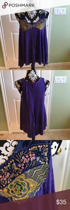 Free People Beaded Boho top In great pre loved condition no rips stains or tears Free People Tops Tank Tops