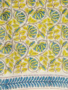 Buy Yellow Blue floral Sanganeri print Chanderi fabric Hand Printed Fabric, Printed Cotton, Kalamkari Designs, Buy Fabric Online, Creative Textiles, Indian Fabric, Print Patterns, Pattern Design, Cotton Fabric