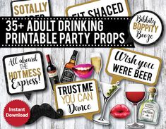 35 Adult Drinking Funny Photo Booth Props by DanasDesignStudio