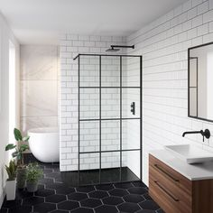 What does a Crittall style shower screen go with? A Walnut vanity unit of course! Check out our Shoji shower screen & Zane unit for black bathroom inspiration. Loft Bathroom, Small Bathroom, Bathroom Ideas, Bathroom Organization, Bathroom Plumbing, Bathroom Sinks, Bathroom Cabinets, Bathroom Designs, Spa Master Bathroom